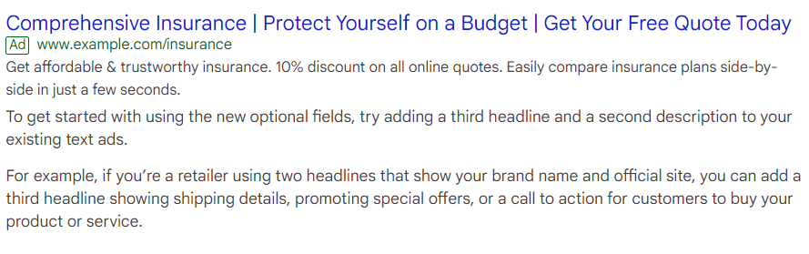 sample expanded text ad